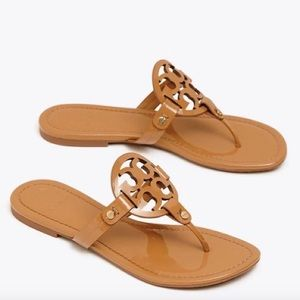Tory Burch patent leather miller sandal nude